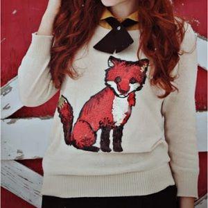 UO Sequin Fox Cooperative Lightweight Sweater
